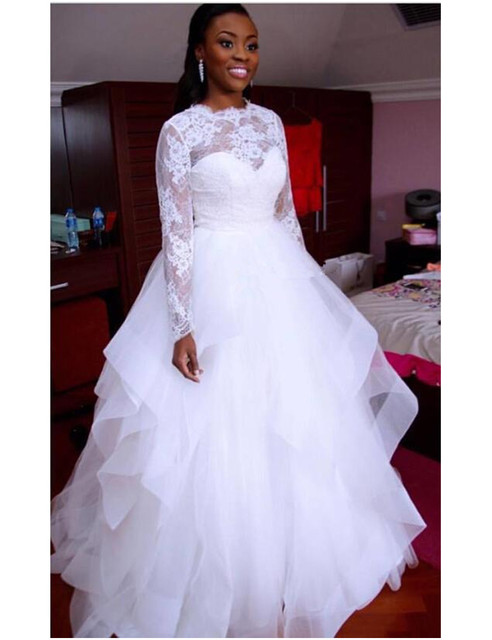 African 2017 Long Sleeve White Wedding Dress Lace Ruffles Tulle A ...