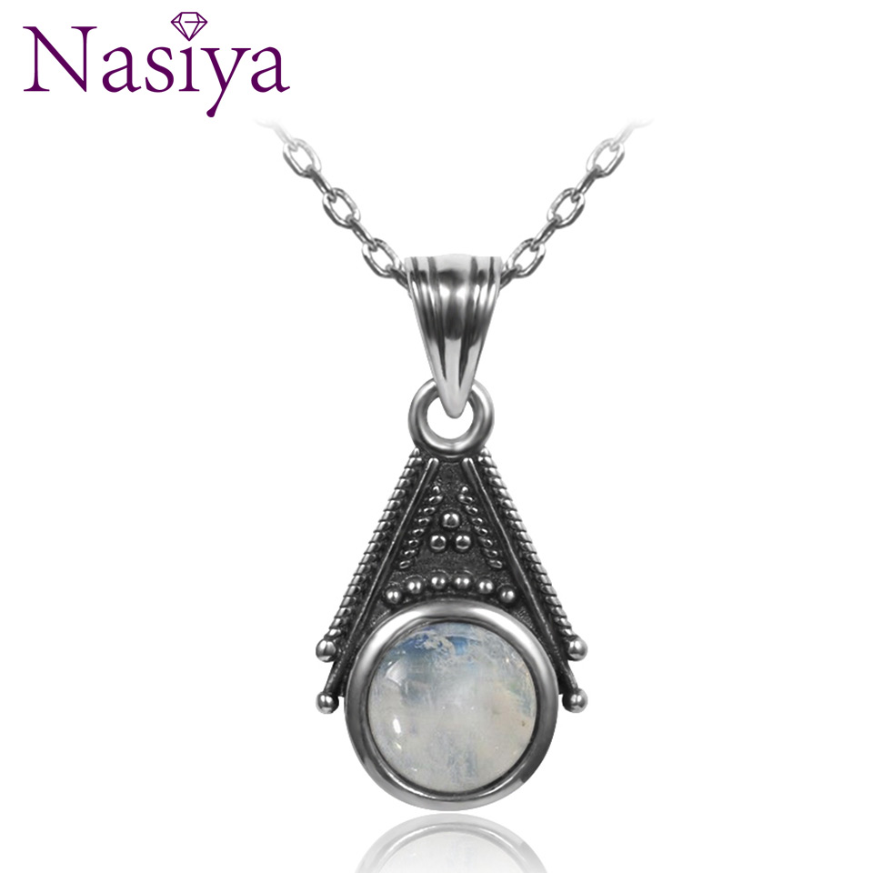 Classic Special Design 6mm Natural Moonstone Pendant Necklace With 45cm Silver Chain Wholesale Casual 925 Silver Jewelry Gifts