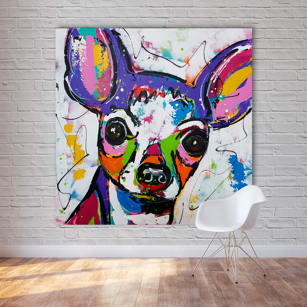 Modern Abstract Animal Canvas Art Chihuahua Dog Pop Art Wall Pictures For Living Room Home Decor