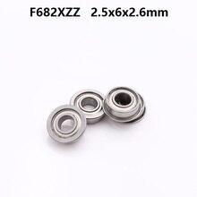 200pcs/lot F682XZZ F682 F682X ZZ Flange bearing 2.5x6x2.6 mm shielded flanged deep groove ball bearings Miniature 2.5*6*2.6 mm