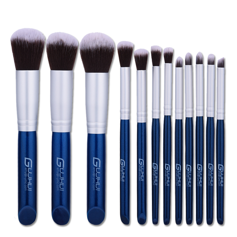 12Pcs Professional Makeup Brushes Set Beauty Cosmetic Eyeshadow Lip Powder Face Pinceis Tools Kabuki Brush Kits blue color mix colour 24 pcs pack professional soft makeup brushes eyeshadow powder lip cosmetic set case