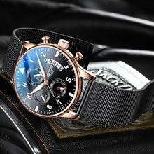 лучшая цена Fashion Mens Watches Top Brand Luxury Quartz Watch Men Chronograph Mesh Steel Waterproof Sport Watch Calendar Relogio Masculino