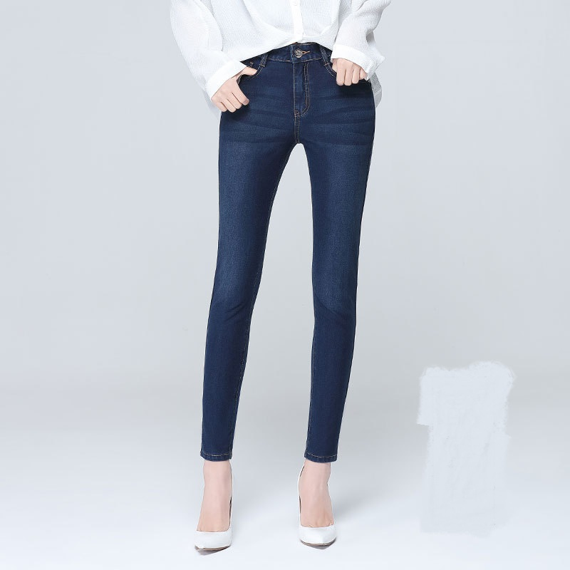 High Quality Casual Vintage Elasticity Skinny Winter Denim Jeans Women Slim Pencil Pants Pockets Female Autumn Long Jeans in Jeans from Women 39 s Clothing