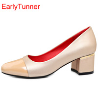 Brand New Sweet Beige Red Women Nude Pumps Silver Green Med Chunky Heels Office Ladies Work
