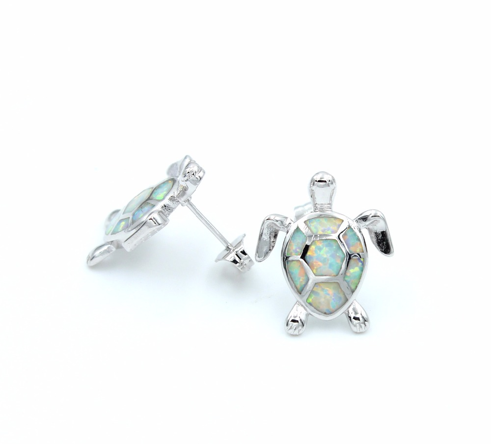 silver turtle bling jf stud blue opal jewelry sea plated az synthetic earrings sterling rhodium