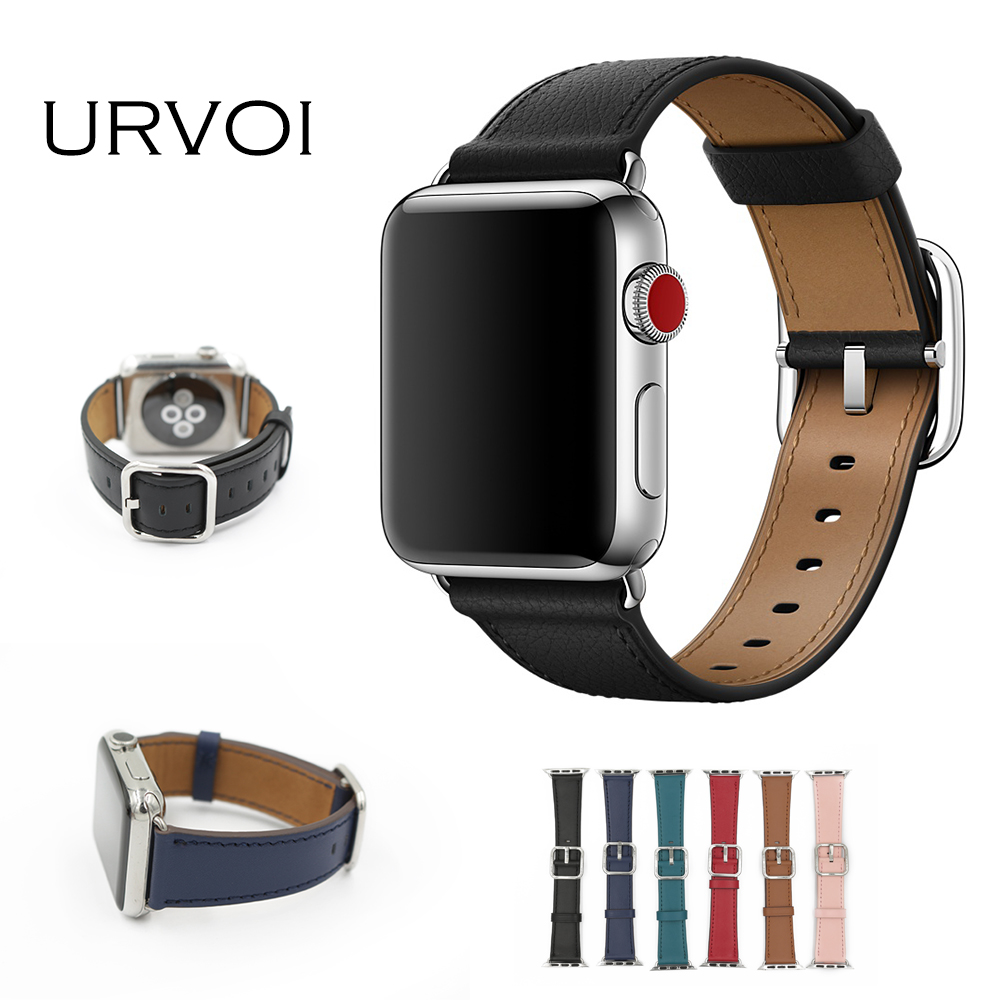 URVOI Classic Buckle Band for apple watch series 3 2 1 calf leather strap for iwatch with square buckle modern design GEN.2 цена и фото