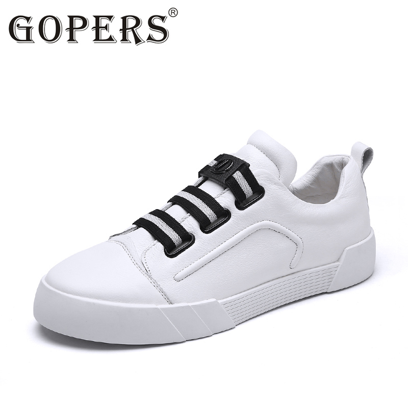 GOPERS High Quality Genuine Leather Men Casual Shoes Fashion Breathable Male Shoes Cow Leather Men Flats 36-49 newest design men summer sandals style flats fashion casual breathable genuine leather punching shoes for men simple shoes male