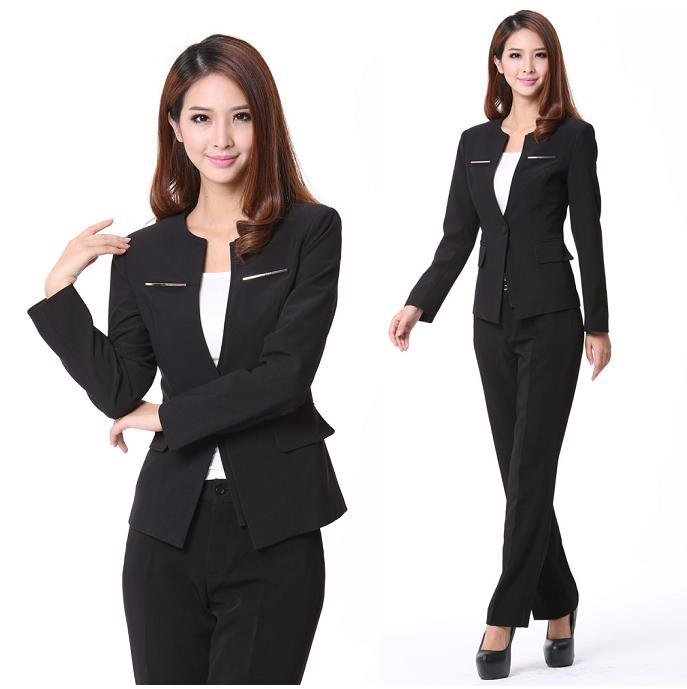 New Women Evening Pant Suits Brand New 2017 Ladies Trouser Suit Gray Black
