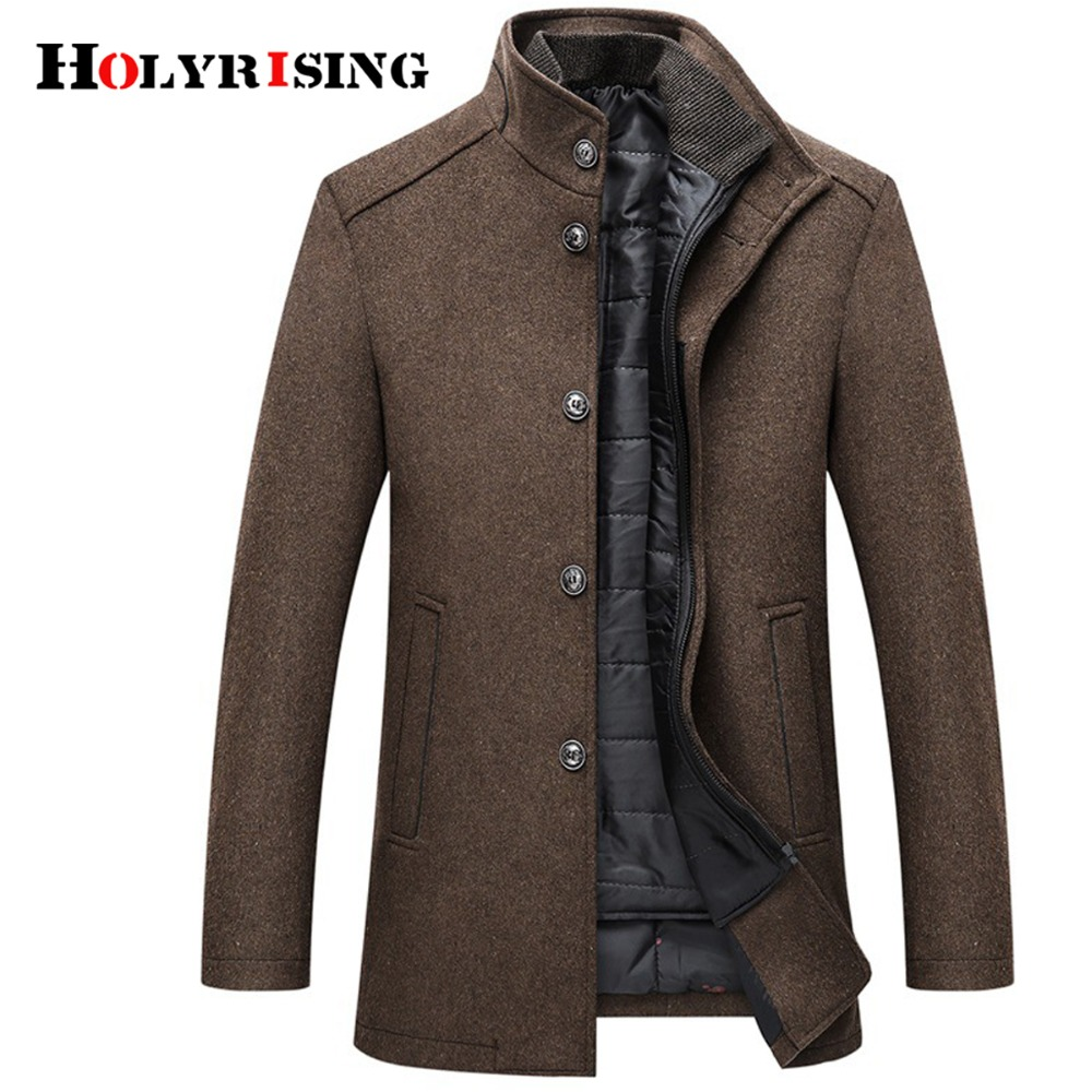 Holyrising Jackets Coats Single-Breasted Mens 4-Colours Thick And Wool with Adjustable