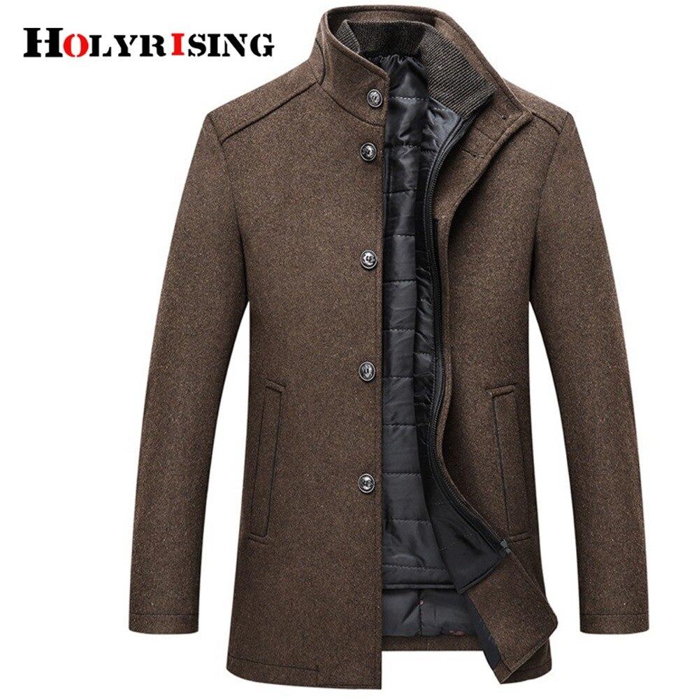 Holyrise manteau en laine hommes épais pardessus manteau hommes simple boutonnage manteaux et vestes avec gilet réglable 4 couleurs M-3XL