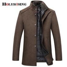 Holyrisingウールコート男性厚手のオーバーコートトップコートメンズシングルブレストコートやジャケット調節可能なベスト4色M 3XL