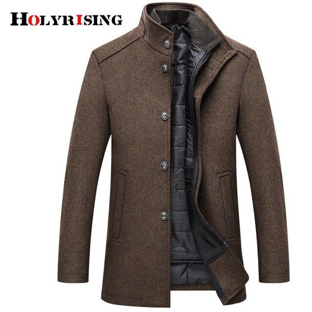 Holyrising Topcoat Mens Único Breasted Casaco de Lã Homens Casacos Grossos Casacos E Jaquetas Com Ajustável Colete 4 Cores M-3XL