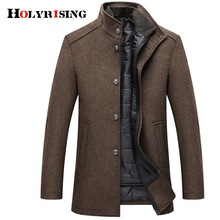 Holyrising Wool Coat Men Thick Overcoats Topcoat Mens Single