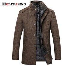 Holyrising Wool Coat Men 두꺼운 오버 코트 Topcoat Mens 조정 가능한 조끼를 가진 단 하나 브레스트 코트와 재킷 4 개의 색깔 M 3XL