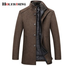 Holyrising معطف الصوف الرجال معاطف سميكة معطف رجالي واحدة الصدر معاطف وسترات مع سترة قابل للتعديل 4 ألوان M 3XL