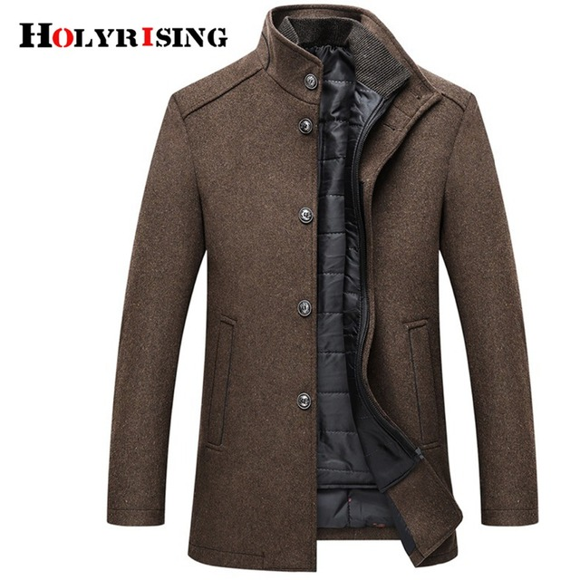 Holyrising шерстяное пальто мужские толстые пальто Верхняя одежда мужские однобортные пальто и куртки с Регулируемый жилет 4 цвета M-3XL