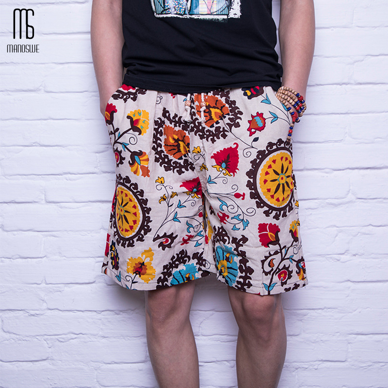 Linen Men Beach Short Loose Type Gay Bottom Fashionable Print Thin Pants Red Shorts For Summer 2019