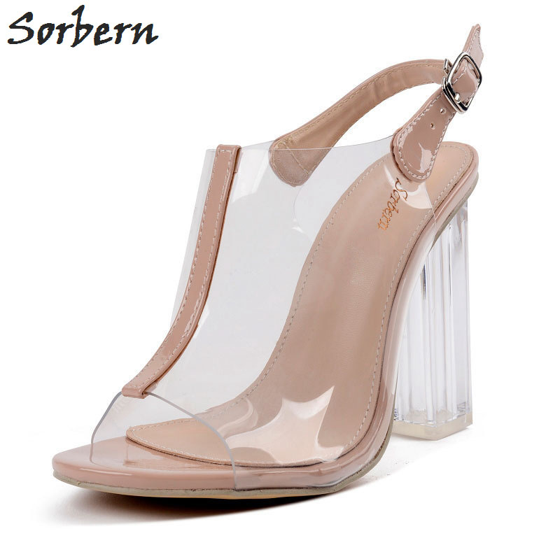 Sorbern Transparent Plastic Peep Toe Slingbacks Women Pumps Elastic Band PVC Shoes Ladies Fashion Party Clear Heels Runway Shoes sorbern women sandals wedges shoes peep toe ladies party shoes elastic band peep toe plus size designer luxury women shoes