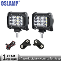 Oslamp 36W 4inch Spot Flood Beam LED Work Light 12v 24v Driving Headlights Work Lamp Mount
