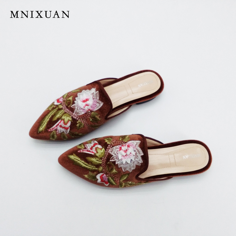 Sandals for women high quality handmade flock flower mules shoes 2017 new summer genuine leather flats lady slippers big size 10 handmade genuine leather sandals women shoes lady high quality 2017 summer red silvery closed toe medium heels big size 10 41 42
