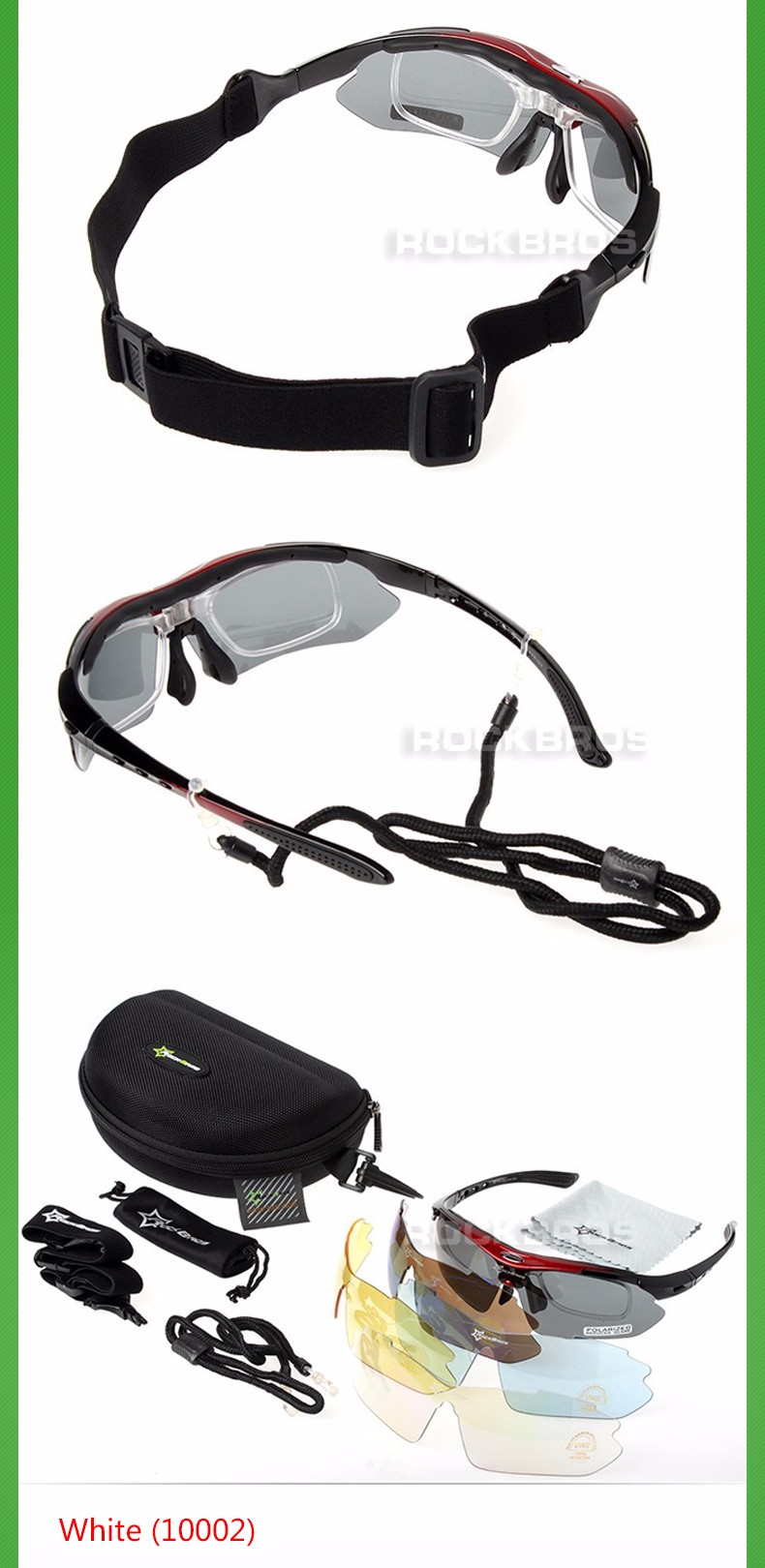 Polarized Cycling Glasses 5 Lens Clear Bike Glasses