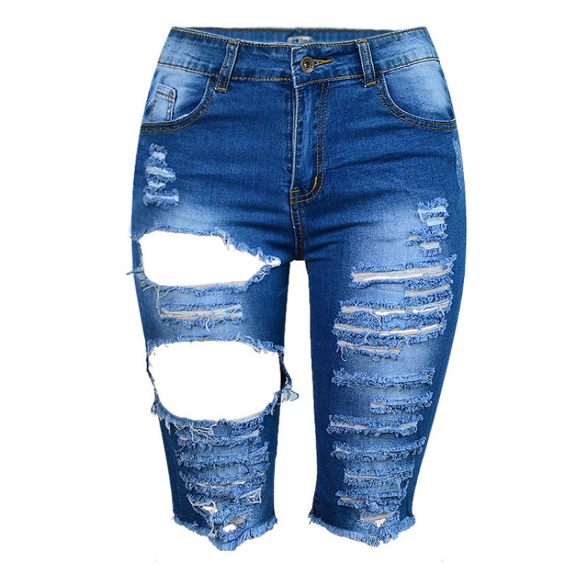 Summer High Waist Ripped   Jeans   Women sexy Knee Length Hollow Out Hole Bleached Vaqueros Mujer Tearing Plus Size Pantalon Femme