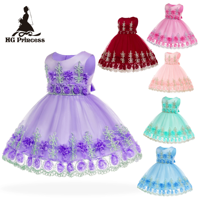 Free Shipping Cotton Lining Flowers Infant Dresses 2019 New Arrival Baby Dress For 1 Year Girl Birthday Toddler Christening Gown in Dresses from Mother Kids