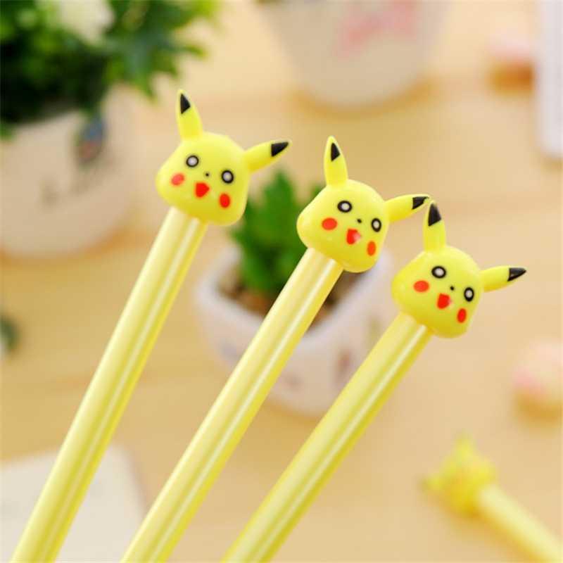 4 Pcs Neue Kommen 0,3mm Nette Kawaii Pikachu Kunststoff Gel Stift Schöne Pokemon Gehen Stift Für Kinder Koreanische Briefpapier