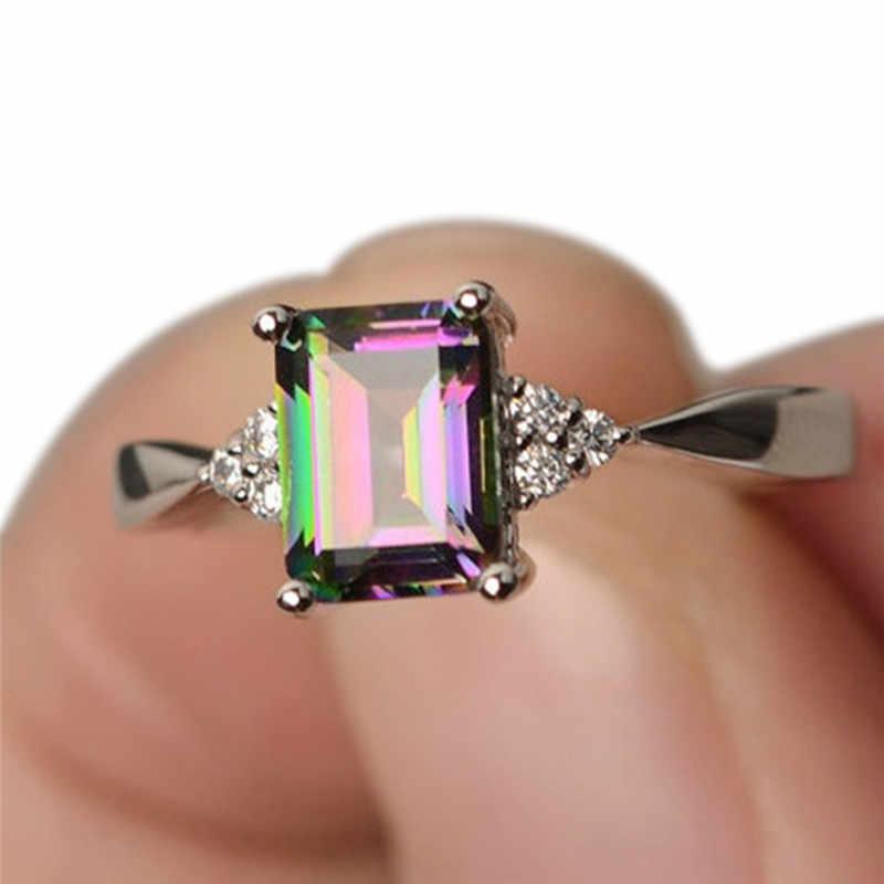 Jettingbuy Mystic Rainbow Topaz Pernikahan Pertunangan Cincin Berlapis Perak Kristal Perhiasan Perak Warna