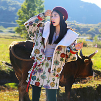 MX135 New Arrival 2016 autumn winter jacket coat floral printed suede lambswool thick warm women sets