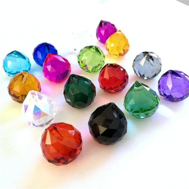 12pcs Multi Color 30mm Natural Crystal Ball Prisms Chandelier Drops Wedding Decoration Pendant