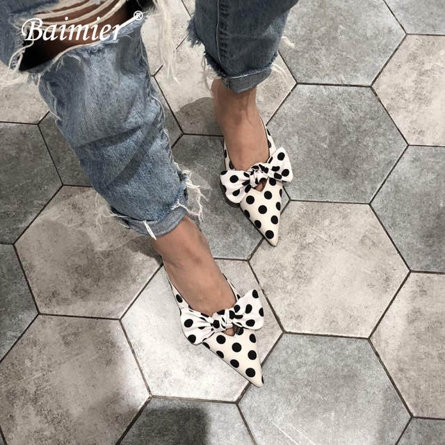 cheapest price store pre order Baimier Polka Dot Women Pumps Kitten Heel Women Sandals Fashion Bow Tie  Women Mules Casual Pointed Toe Slip On Women Slippers