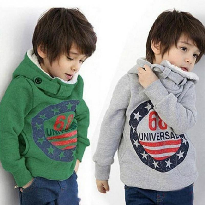 Autumn winter fashion children thick sweater boys hoodie kids baby number printed Sweat Shirt(China)