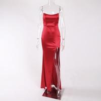 2018 Sexy Split Side Strapless Party Dress Backless Bodycon Maxi Dress Halter Shiny Red Satin Maxi Dress