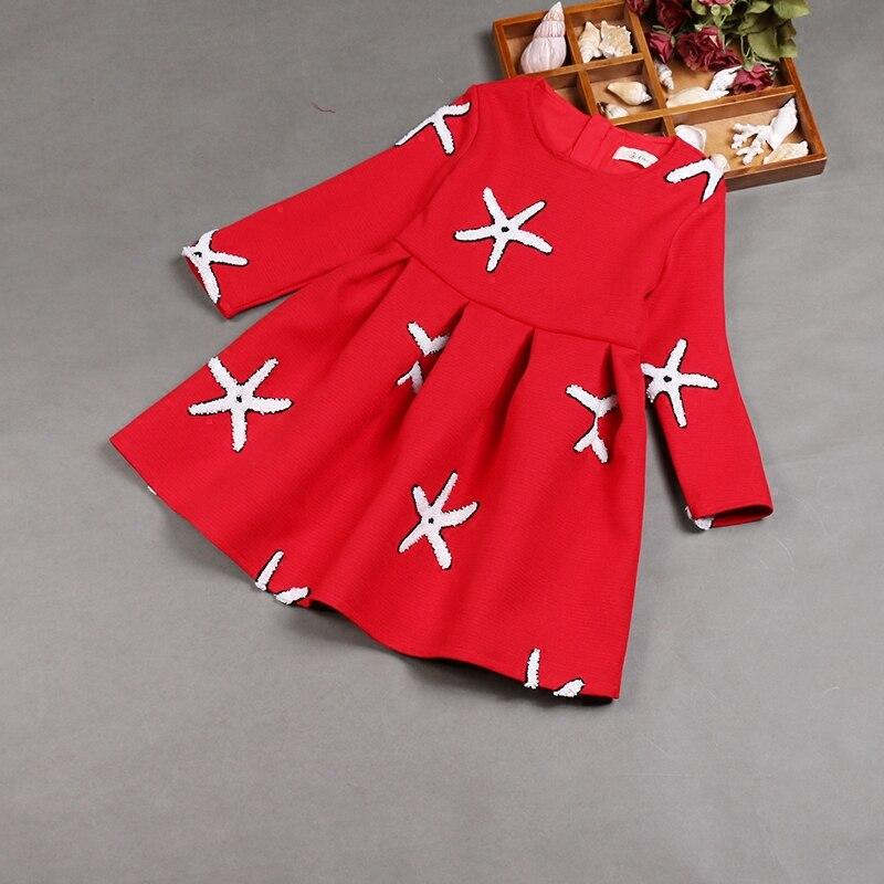 Printemps famille look enfants vêtements maman enfants filles femmes manches complètes étoile de mer broderie robe mère et fille robes assorties