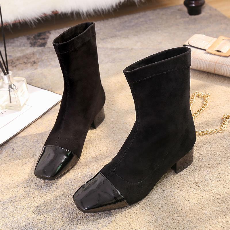 Invierno Mujer Cuero Botas Las Zapatos 2019 Nueva marrón Costura Mujeres Mediados Negro De Dama becerro Niñas De Gamuza Planas Primavera wxqRRAz0Y