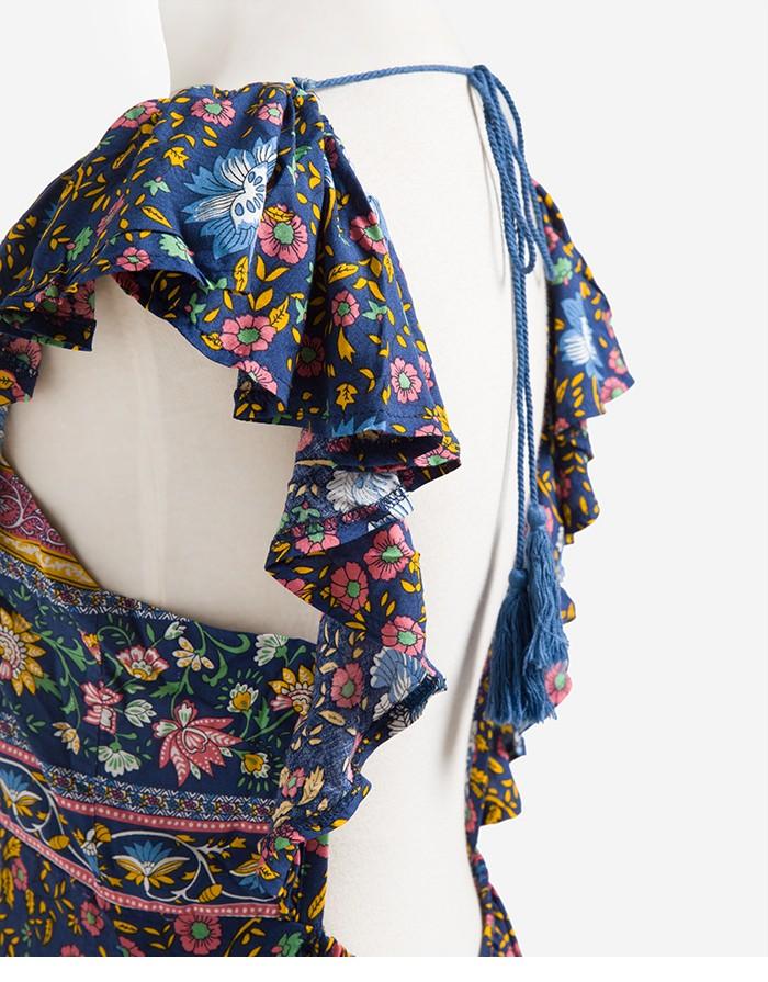Boho zainspirowany 2017 letnie sukienki kwiatowy print cotton backless długi maxi dress hippie chic ruffles rękawem kobiety sexy vestidos 19