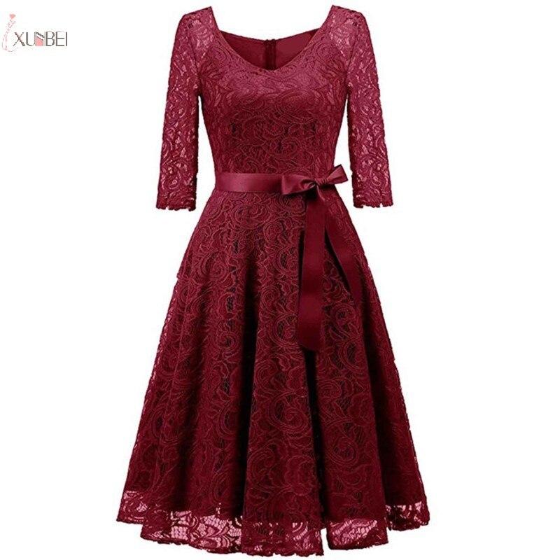 2019 Elegant Burgundy Lace Short   Evening     Dress   V Neck Half Sleeve A line   Evening   Gown robe de soiree