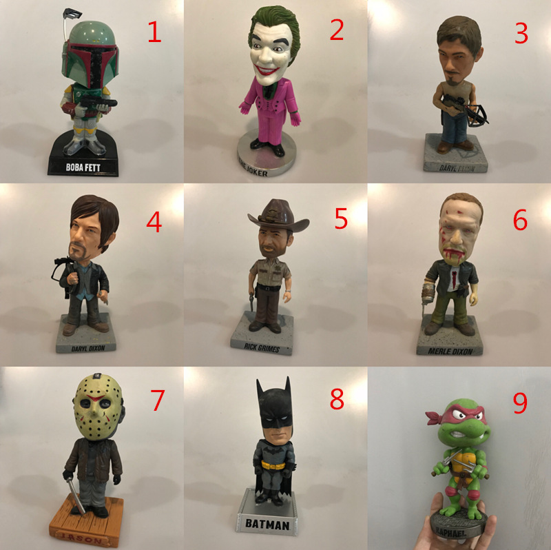 Funko Wacky Wobbler Used Boba, Jason, The Joker, Walking Dead, Batman, Turtle Vinyl Action Figure Collectible Model Loose Toy image