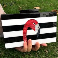 Fashion Brand Pvc Purse Women Messenger Bags Highend Elegant Black And White Striped Acrylic Flamingo Pattern Evening Clutch Bag