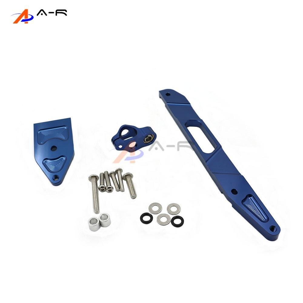 Blue CNC Direction Steering Damper Stabilizer Holder Bracket for Yamaha XJR1300 2002-2015 14 13 12 11 10 09 08 07 06 05 04 03 steering damper set for yamaha yzf r6 06 07 08 09 10 11 12 13 14 w bracket kits