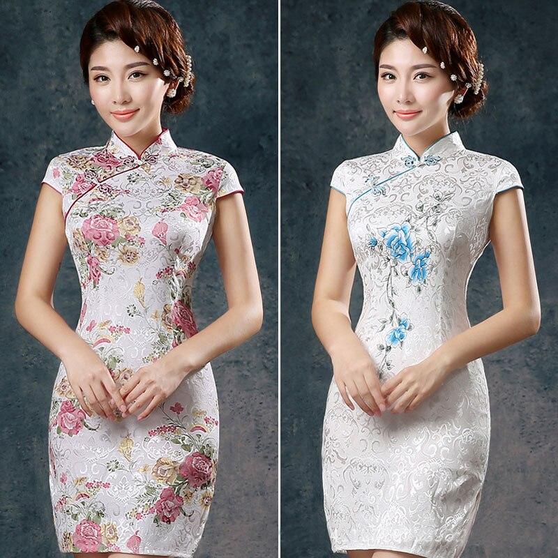 Umorden Γυναίκες Κινέζικα Παραδοσιακά Ρούχα Ένδυση Cheongsam Qi Pao Μεταξωτά Κέντημα Ορχιδέα Παιωνία Εκτύπωση λουλουδιών Μίνι κοντό Cheongsams