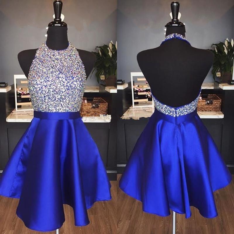 Blue 2019 Homecoming Dresses A line Halter Beaded Crystals Backless Short Mini Elegant Cocktail Dresses