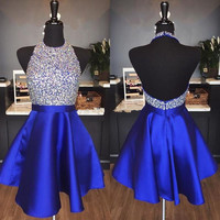 Blue 2019 Homecoming Dresses A line Halter Beaded Crystals Backless Short Mini Elegant Cocktail Dresses