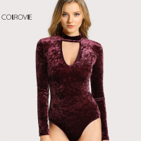 COLROVIE Choker Neck Sexy Skinny Bodysuit Crushed Velvet Women Long Sleeve Burgundy Bodysuits 2017 Basic Elegant