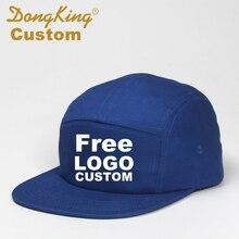 Boné de beisebol personalizado dongking, chapéu de aba curta com 5 painéis de baseball, chapéu snapback gratuito, bordado com logo, ajustável e personalizado