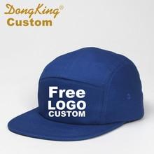 DongKing Custom 5 แผงเบสบอลหมวกสั้นBrim Snapbackหมวกฟรีข้อความเย็บปักถักร้อยโลโก้พิมพ์ผ้าฝ้ายปรับส่วนบุคคล