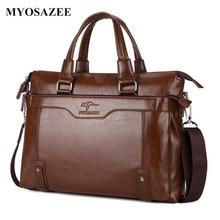 цены MYOSAZEE Fashion Brand Business Men Briefcase Bag Shoulder Male PU Leather Laptop Bag Simple Crossbody Bags Messenger Boys