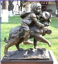 16 Art Decoration Sculpture China Bronze Copper Marble Child Kid Girl Dog Statue