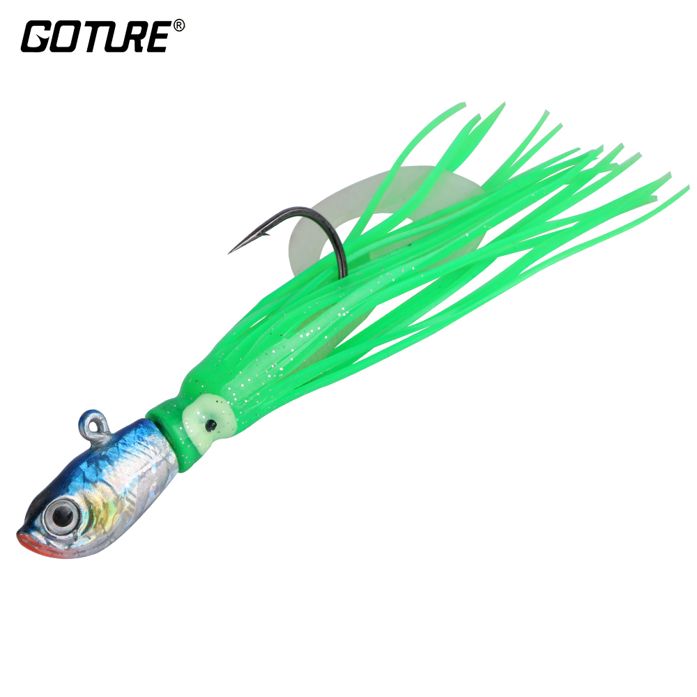 Goture 30g 12cm Soft Fishing Lure Metal Jig Head Jigging Squid Lure Saltwater Fishing Bait